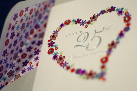 25th Anniversary Greeting Card: Paper Tip-ons, Foil and Gems for Papyrus