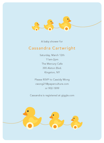 Duckie Baby Shower Invitation for Paper Culture