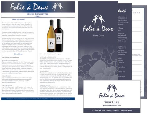 Fole à Deux Wine Club Newsletter and Collateral