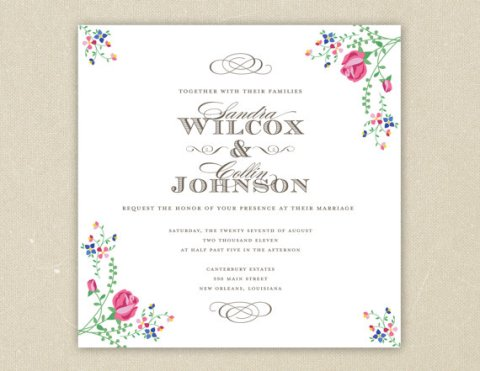 Southern Belle Wedding Invitation for Elsie J