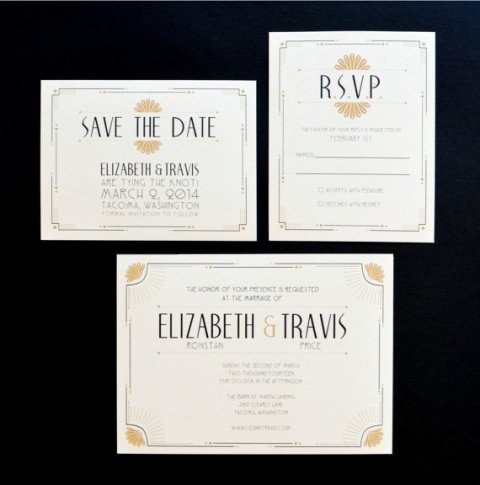 Art Deco Wedding Invitation for Elsie J