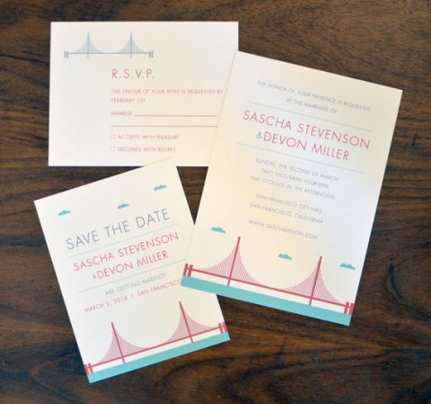 San Francisco Golden Gate Bridge Wedding Invitation for Elsie J